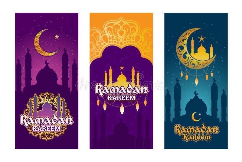 La raccolta del vettore ha colorato le insegne per Ramadan Kareem con gli elementi del Ramadan illustrazione di stock