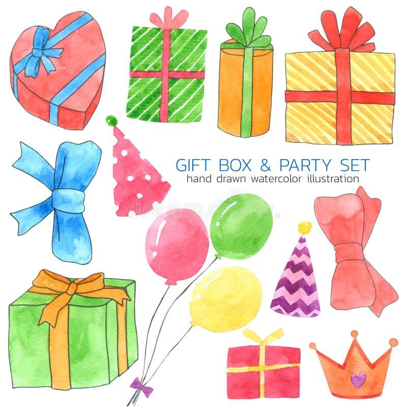 La raccolta dell'acquerello del contenitore e del partito di regalo su fondo bianco, disegnato a mano per i bambini, la cartolina illustrazione vettoriale