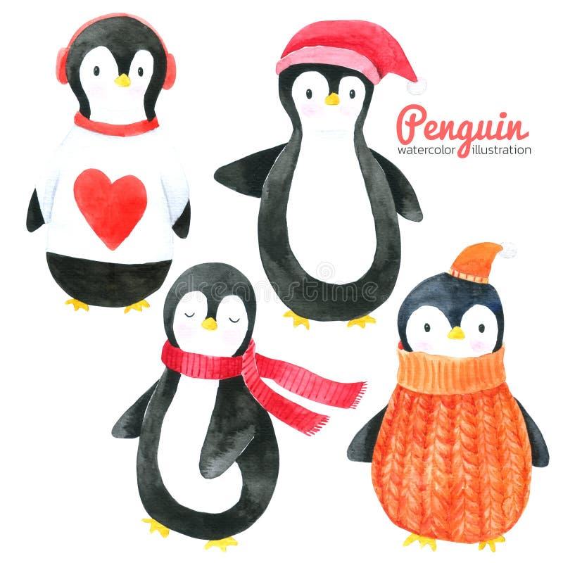 La raccolta dell'acquerello del fumetto del pinguino su fondo bianco, disegnato a mano per i bambini, la cartolina d'auguri, casi illustrazione di stock