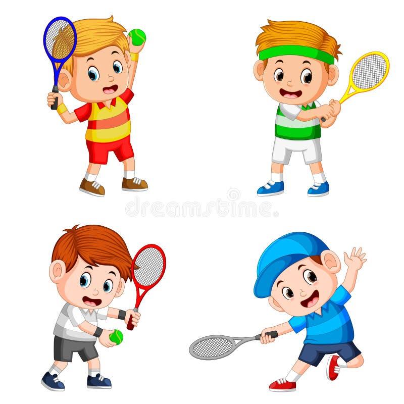 La raccolta dell'azione del ragazzo che fa il campo di tennis con la buona posa illustrazione vettoriale