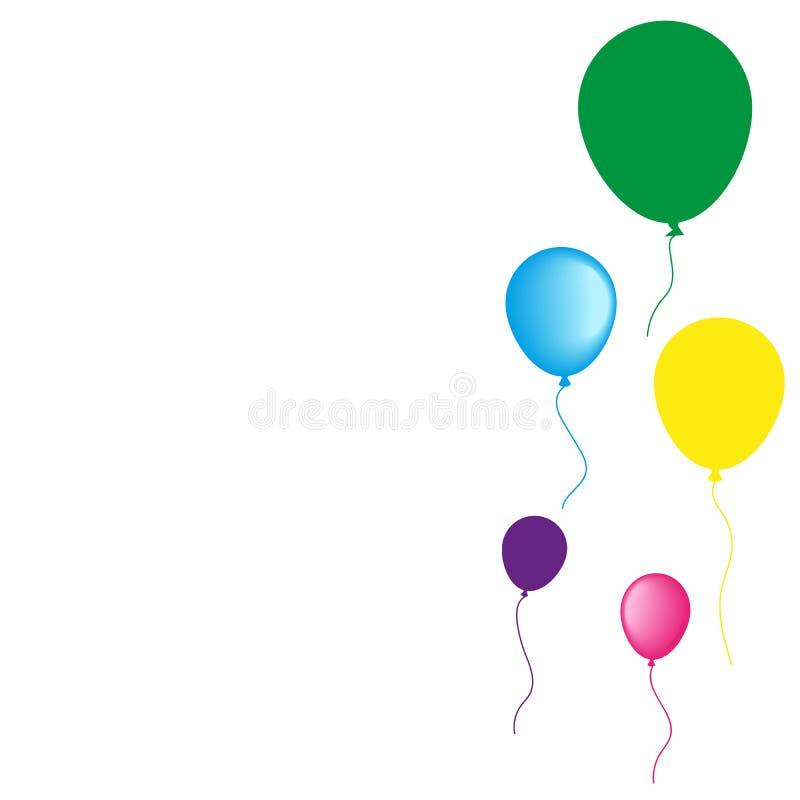 La raccolta dell'elio realistico di vettore balloons per il compleanno, partito, isolato su fondo bianco illustrazione vettoriale