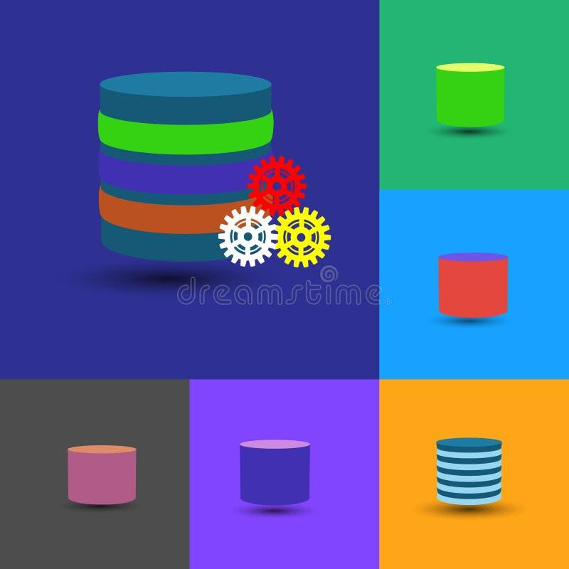 La raccolta dell'icona della base di dati, questa inoltre rappresenta il data warehouse, base di dati stratificata illustrazione di stock