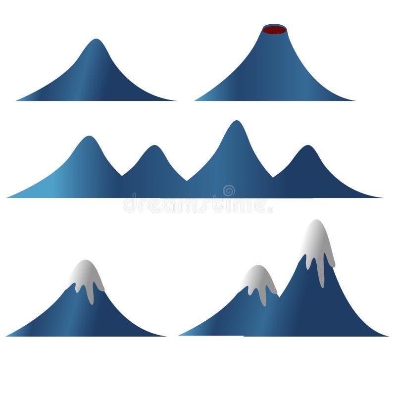 La raccolta dell'illustrazione di vettore della lava della neve della montagna ha isolato il fondo illustrazione vettoriale