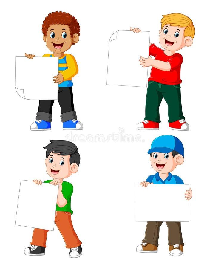 la raccolta dell'uomo che tiene la carta in bianco illustrazione vettoriale
