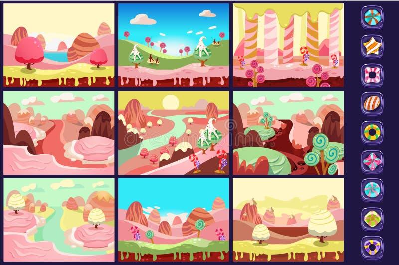 La raccolta della fiaba abbellisce, terra dolce della caramella, dettagli per le illustrazioni di vettore dell'interfaccia del gi royalty illustrazione gratis