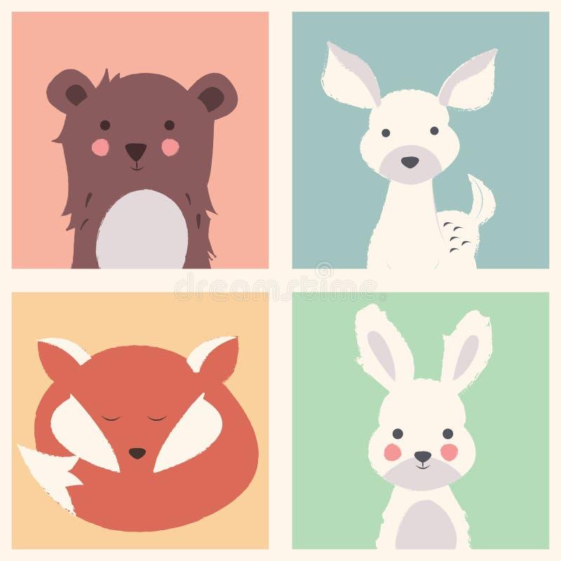 La raccolta della foresta sveglia e degli animali polari con il bambino figlia royalty illustrazione gratis