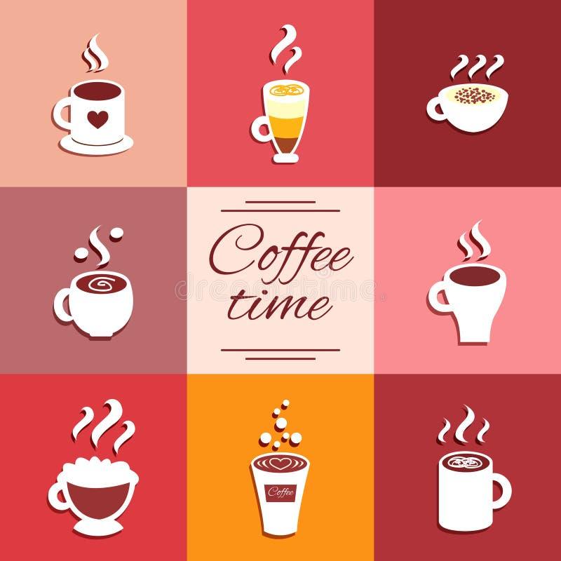 La raccolta delle icone della tazza con caffè caldo beve royalty illustrazione gratis