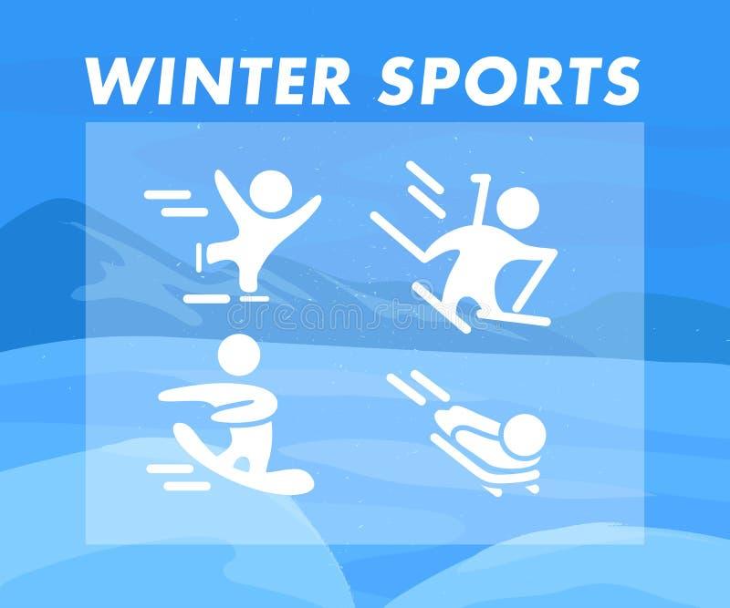 La raccolta delle icone piane degli sport invernali isolate sulla montagna dell'inverno colorata blu e la neve abbelliscono illustrazione vettoriale