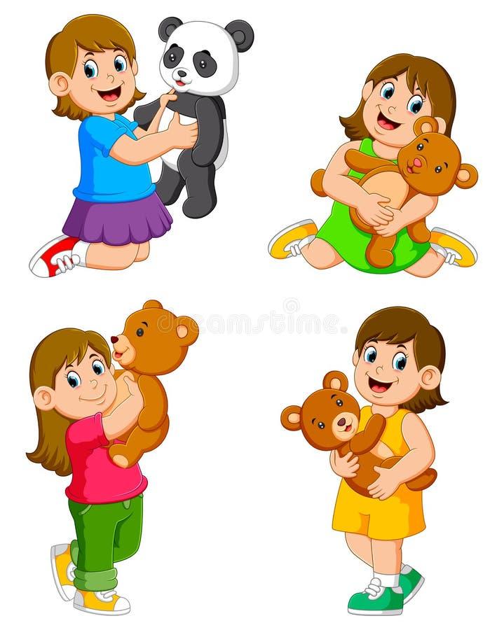 La raccolta delle ragazze che giocano con le loro bambole illustrazione di stock