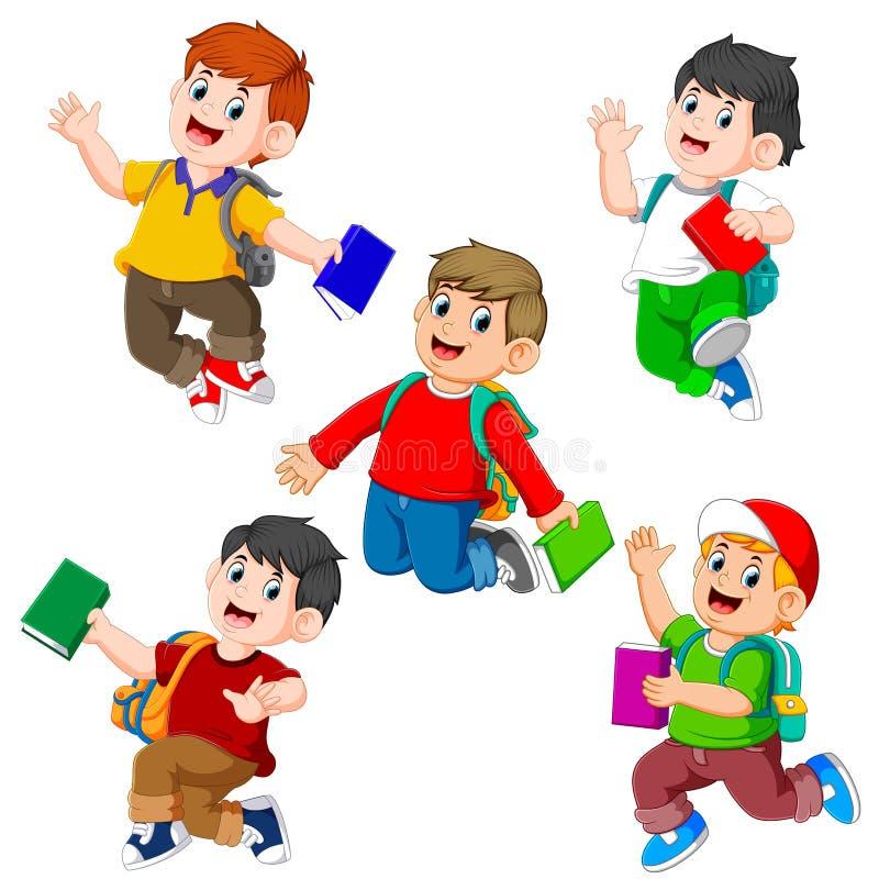 La raccolta dello studente che tiene il libro con la posa differente illustrazione di stock