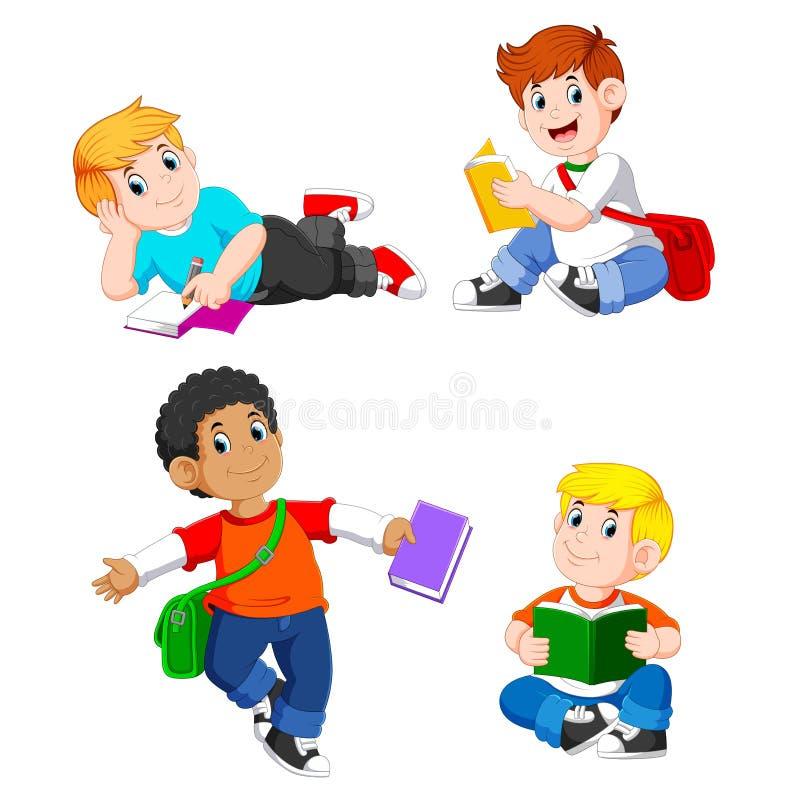 La raccolta dello studio del ragazzo con i loro libri con la posa differente illustrazione vettoriale