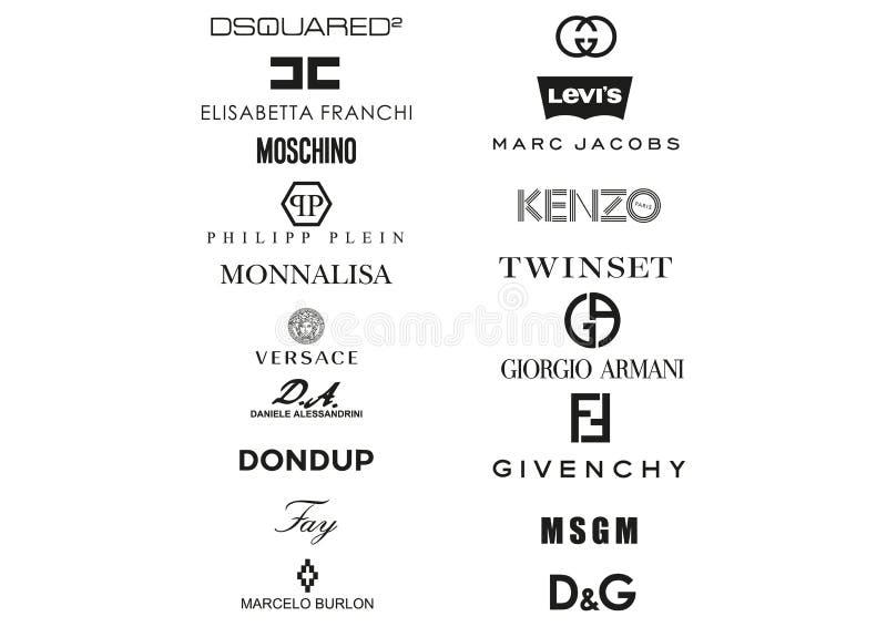 La raccolta di abbigliamento italiano alloggia il logos illustrazione vettoriale