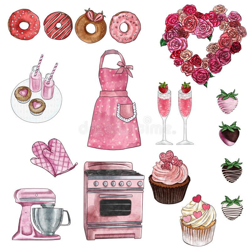 La raccolta di clipart - gruppo di oggetti - biglietto di S. Valentino e retro cucina e forno ha messo - i bigné, le guarnizioni  illustrazione vettoriale