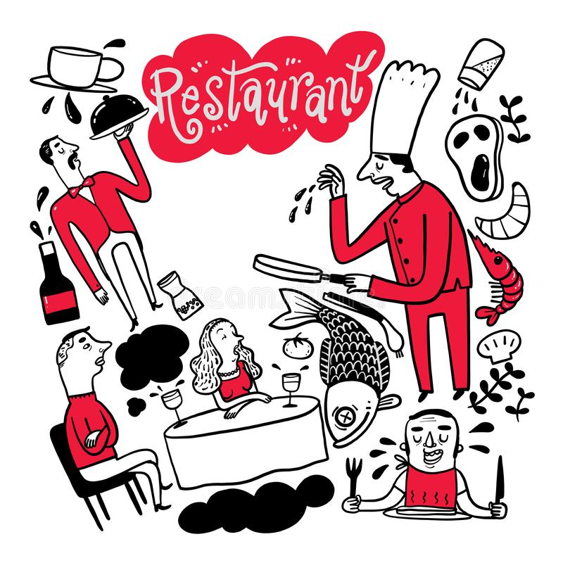 La raccolta di disegnato a mano il cuoco unico è nel ristorante illustrazione di stock