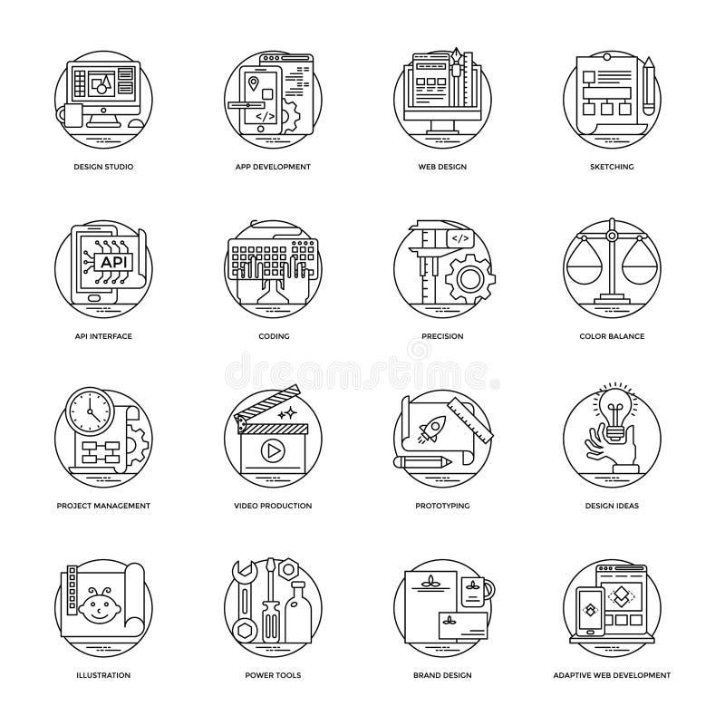 La raccolta di progettazione e lo sviluppo allineano le icone di vettore royalty illustrazione gratis
