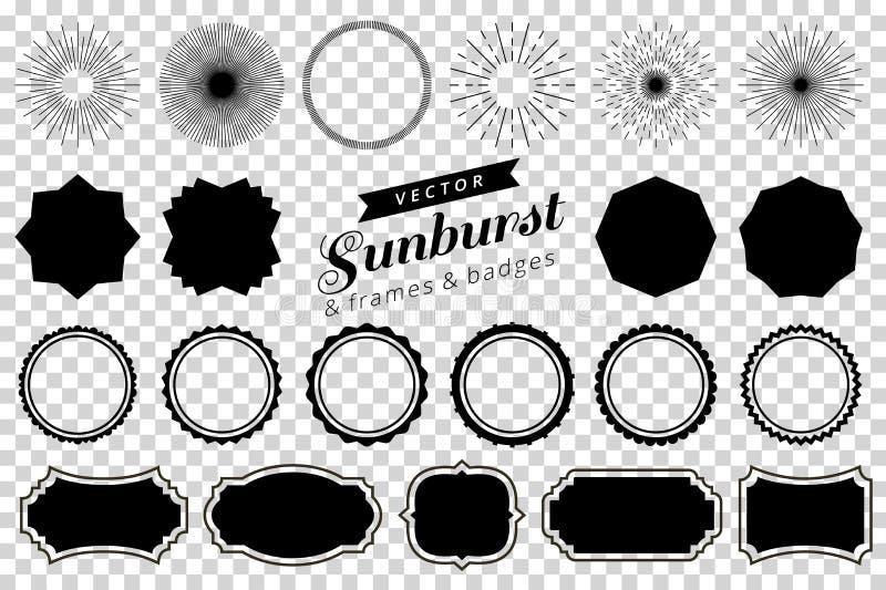 La raccolta di retro sprazzo di sole disegnato a mano, scoppiante i raggi progetta gli elementi Pagine, distintivi illustrazione di stock