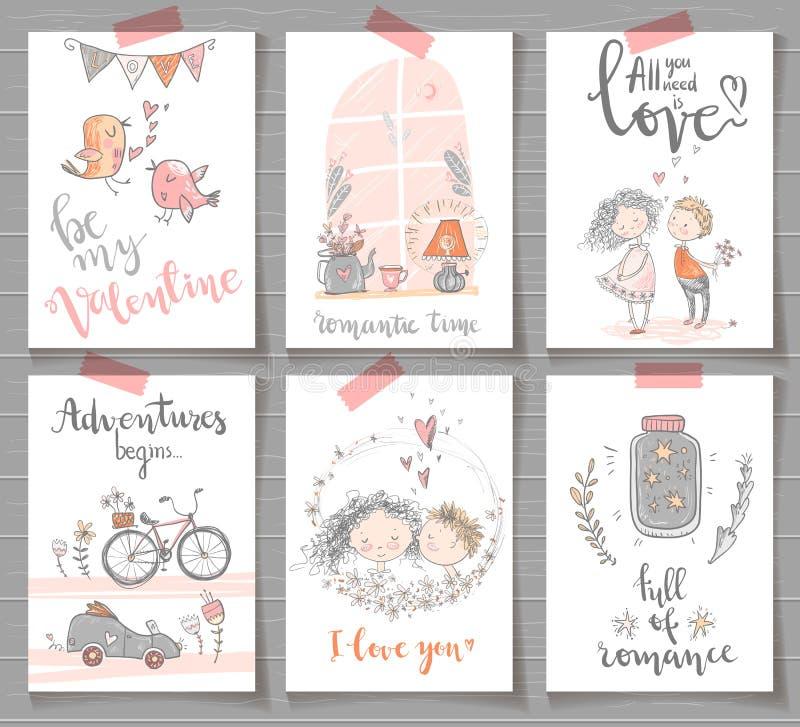 La raccolta di romantico sveglio aspetta le carte di progettazione Giorno di S. Valentino, e royalty illustrazione gratis