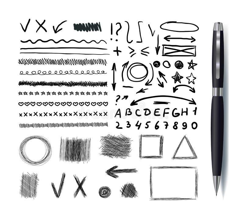 La raccolta di vettore dei disegni dello Sketchbook, insieme nero di Pen Hand Drawn Design Elements ha isolato, linee, frecce e f royalty illustrazione gratis