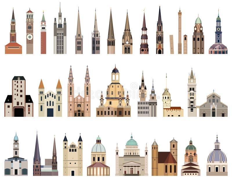 La raccolta di vettore del livello ha dettagliato i comuni isolati, i punti di riferimento, le cattedrali, le tempie, le chiese,  royalty illustrazione gratis