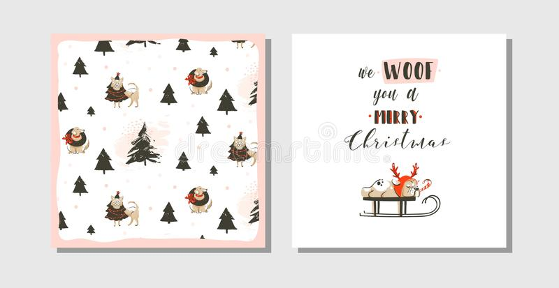 La raccolta disegnata a mano delle carte del fumetto di tempo di Buon Natale di divertimento dell'estratto di vettore ha messo co illustrazione di stock