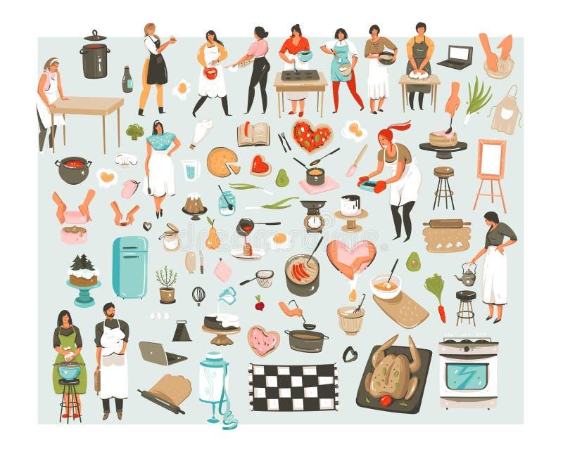 La raccolta disegnata a mano delle icone delle illustrazioni della classe di cottura del fumetto dell'estratto di vettore ha mess illustrazione vettoriale
