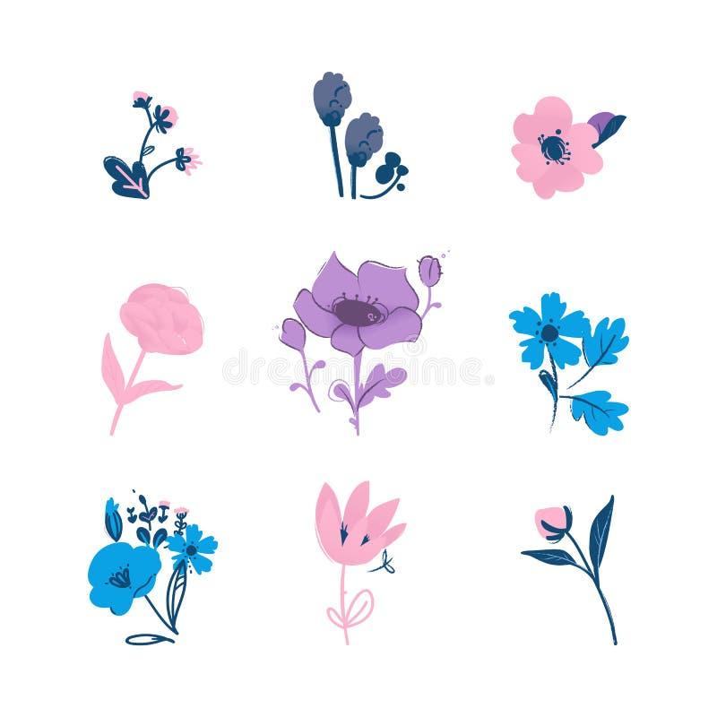 La raccolta floreale variopinta con l'illustrazione di vettore dei fiori e delle foglie ha isolato royalty illustrazione gratis