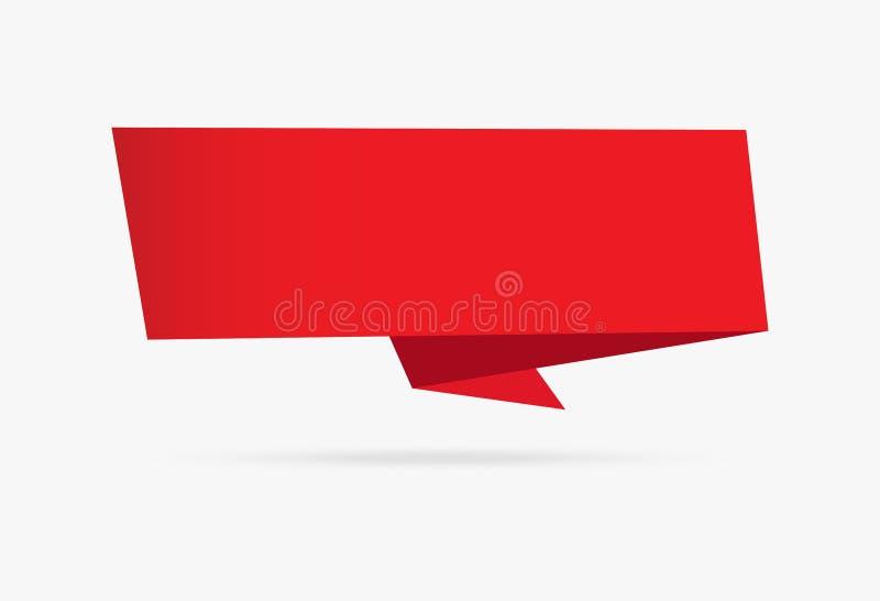 La raccolta infographic del velluto dell'insegna di origami della carta rossa del nastro è illustrazione vettoriale
