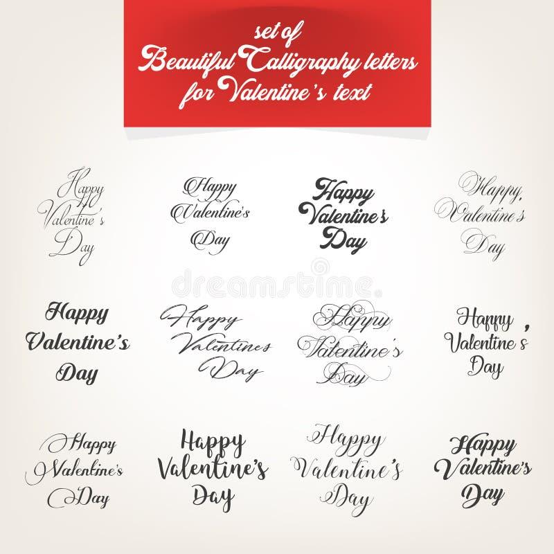 La raccolta, lettere calligrafiche per il giorno del ` s del biglietto di S. Valentino manda un sms a immagine stock libera da diritti