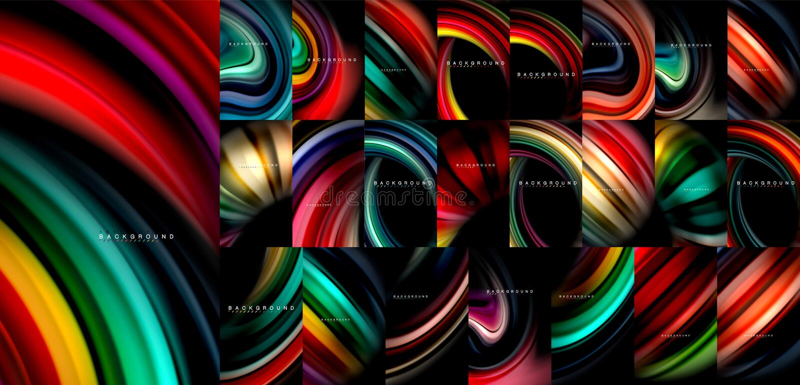 La raccolta mega di colore di flusso del fondo fluido dell'estratto, le progettazioni scorrenti variopinte moderne, liquido ondeg illustrazione vettoriale