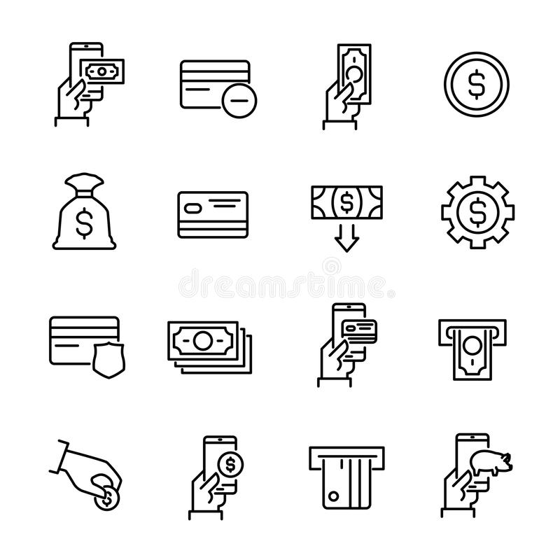 La raccolta semplice del commercio mobile ha collegato la linea icone illustrazione vettoriale