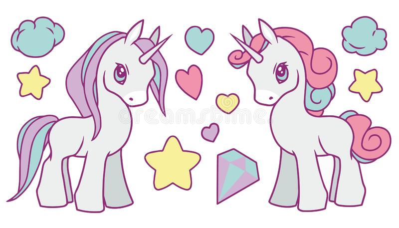 La raccolta sveglia di vettore messa con l'arcobaleno pastello ha colorato gli unicorni, le stelle, il diamante, le nuvole ed i c illustrazione vettoriale