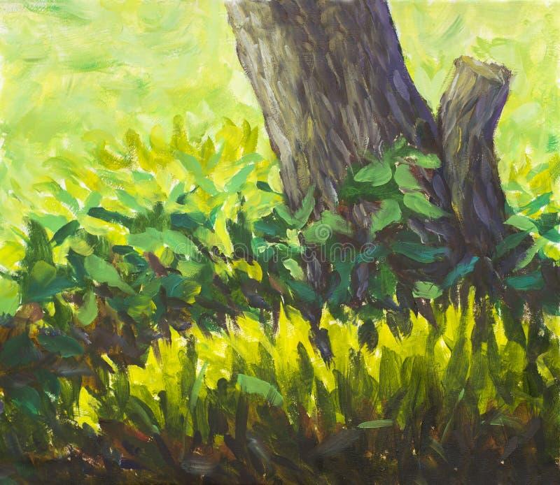 La radura della pittura del mestichino di impressionismo di bei fiori della molla si avvicina al vecchio albero Materiale illustr illustrazione di stock