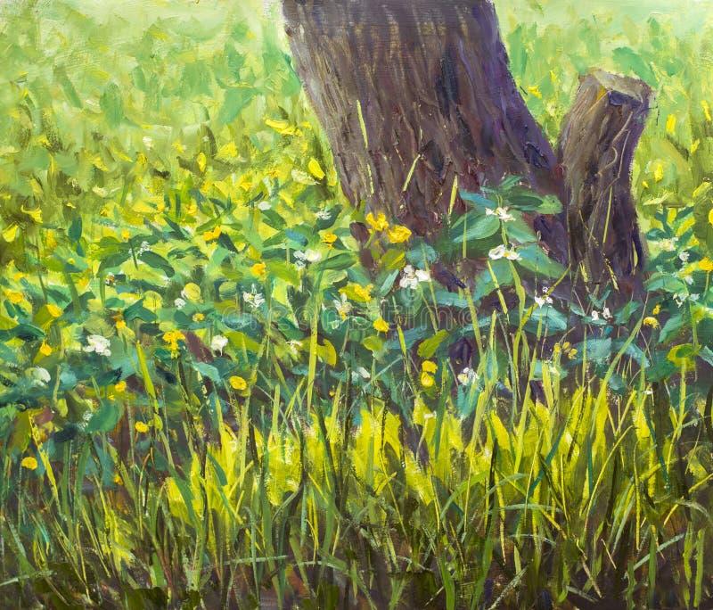 La radura della pittura del mestichino di impressionismo di bei fiori della molla si avvicina al vecchio albero Materiale illustr royalty illustrazione gratis
