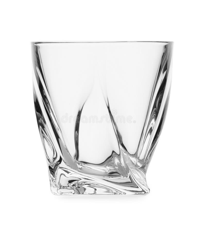 La radura vuota lowball il vetro su bianco fotografia stock libera da diritti