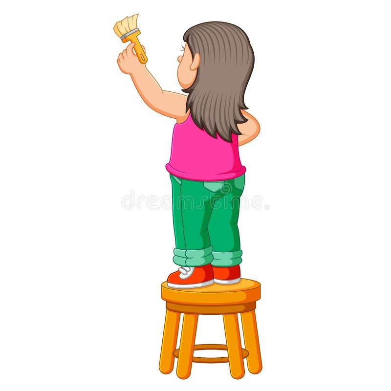 La ragazza è sulla sedia e sulla tenuta della pittura della spazzola per dipingere illustrazione di stock