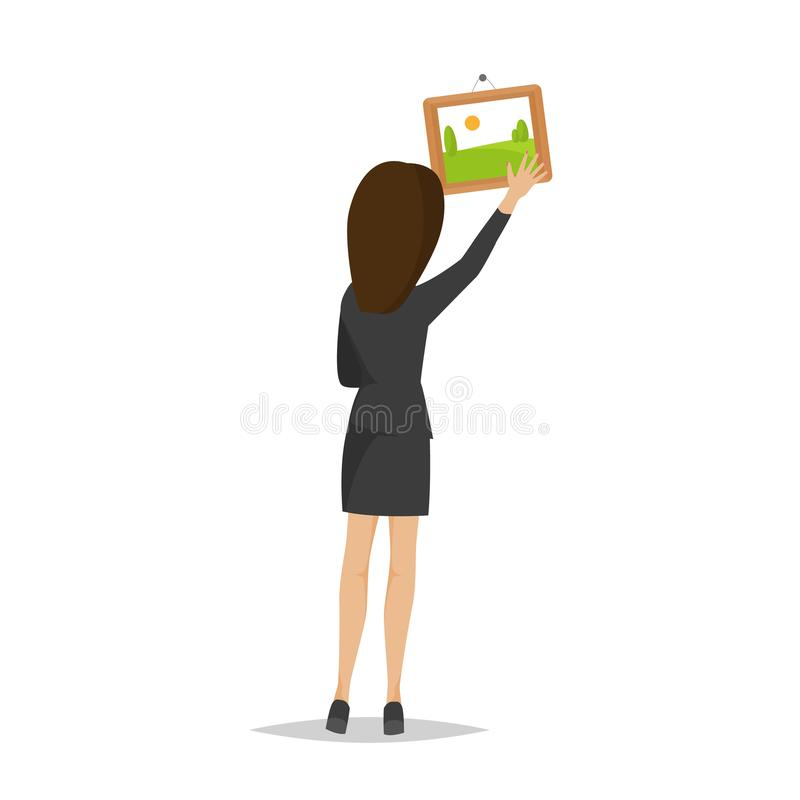 La ragazza è un impiegato di concetto, immagine di caduta della donna in ufficio illustrazione vettoriale