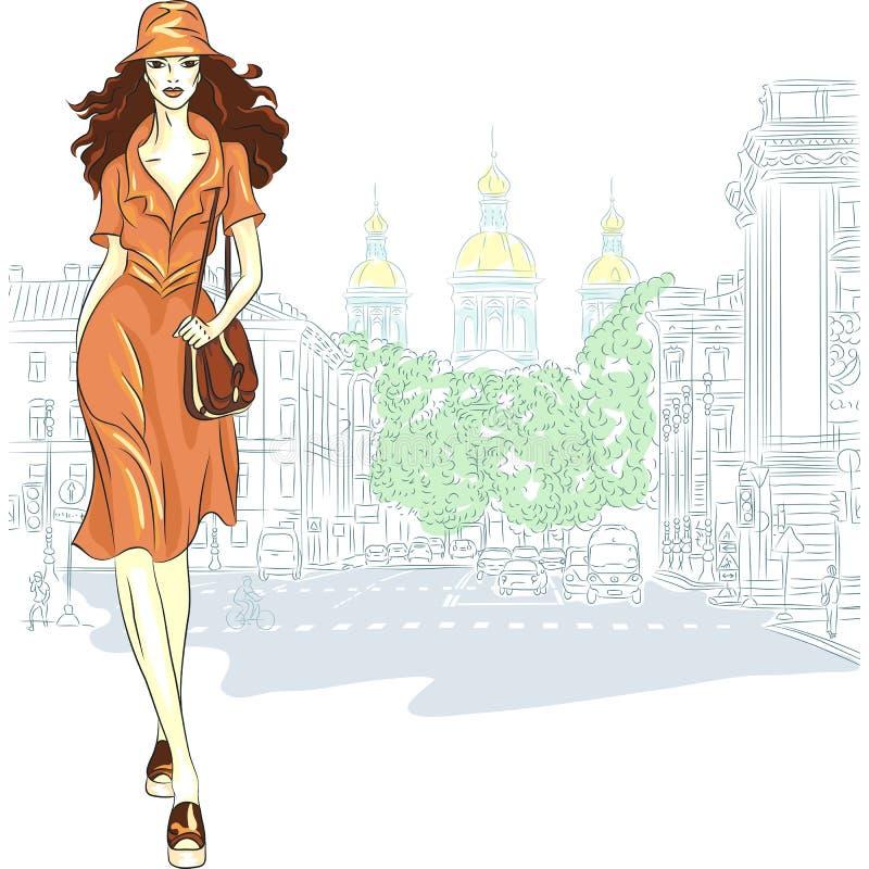 La ragazza adorabile di modo di vettore va per San Pietroburgo illustrazione vettoriale