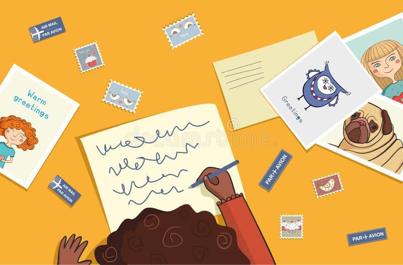 La ragazza africana scrive una lettera royalty illustrazione gratis