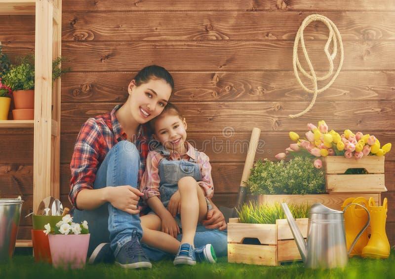 La ragazza aiuta sua madre fotografia stock