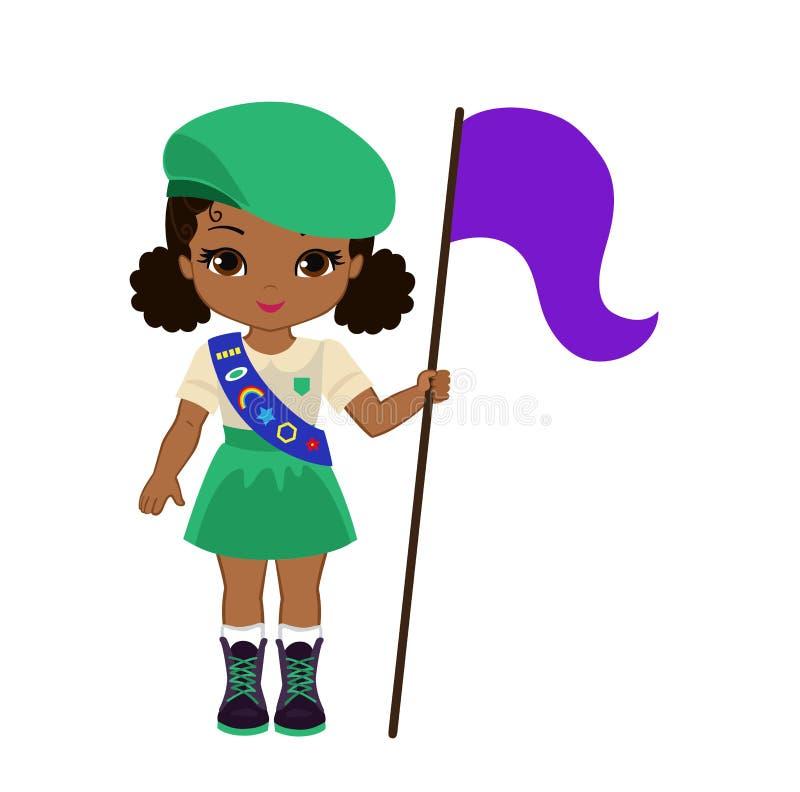 La ragazza allegra dell'esploratore mette la bandiera illustrazione di stock