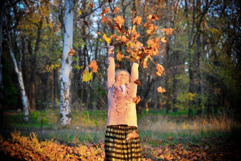La ragazza allegra e felice getta le foglie di autunno su nel parco fotografie stock libere da diritti