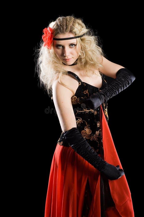 Ballo ballante dello Spagnolo della ragazza emozionale. fotografia stock
