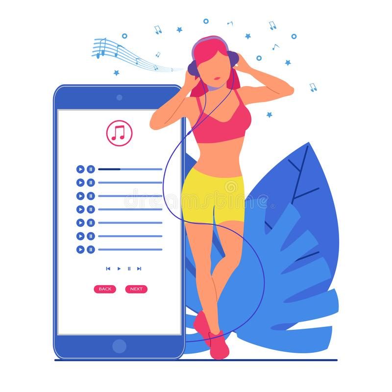 La ragazza ascolta musica in cuffie accanto al telefono royalty illustrazione gratis