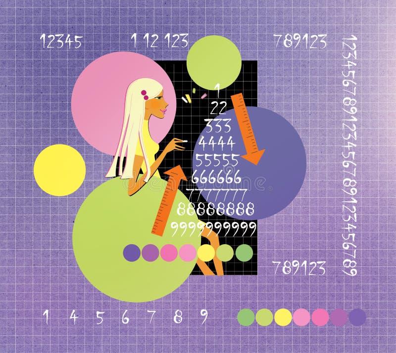 La ragazza attinge la lavagna un triangolo magico circondato dalle tavole matematiche numerology fortunetelling royalty illustrazione gratis
