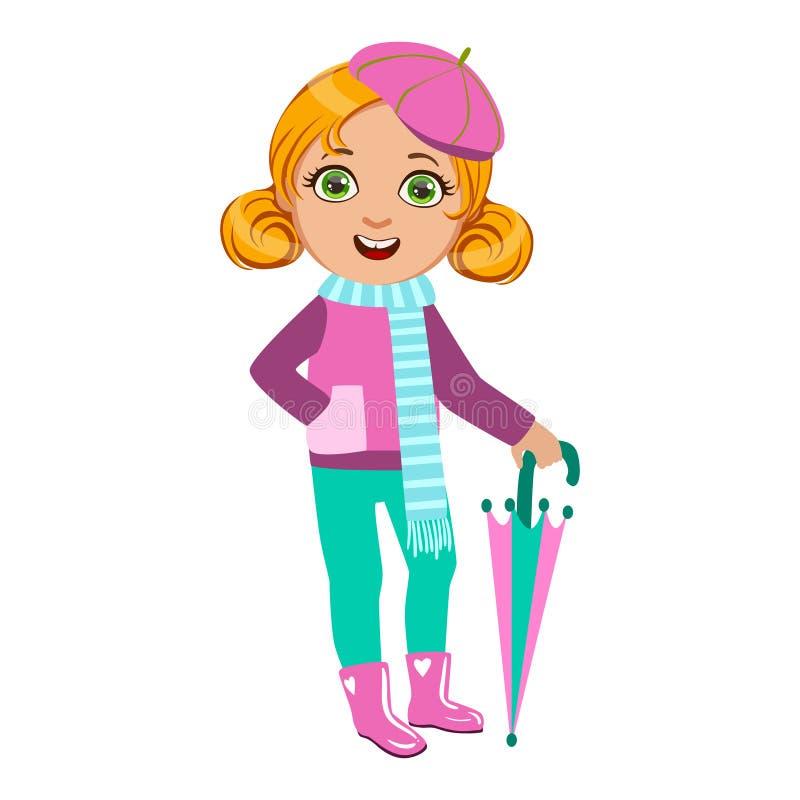 La ragazza in attrezzatura rosa e blu, bambino in pioggia di Autumn Clothes In Fall Season Enjoyingn e tempo piovoso, spruzza e illustrazione vettoriale
