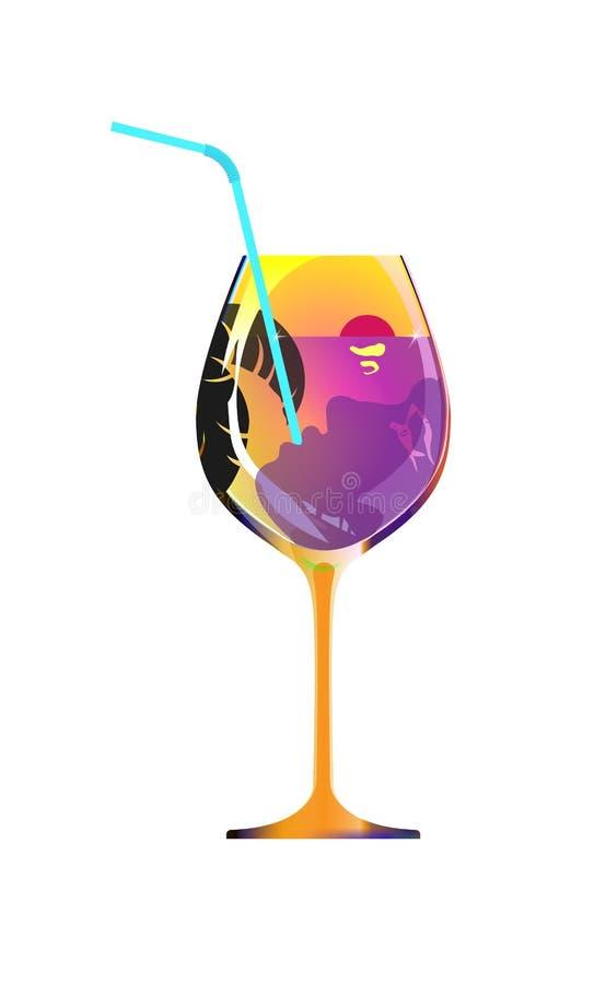 La ragazza beve attraverso una paglia da un vetro arancio di liquore o di vino Il divertimento alla località di soggiorno, signor royalty illustrazione gratis