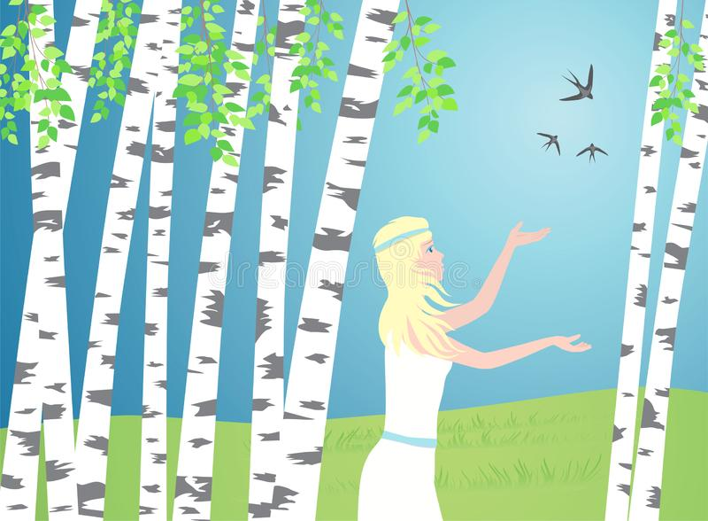 La ragazza cammina fra le betulle Gli uccelli volano più illustrazione vettoriale