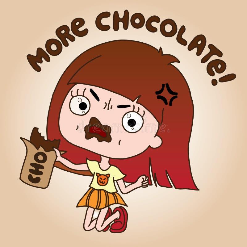 La ragazza cattiva ama il cioccolato illustrazione di stock