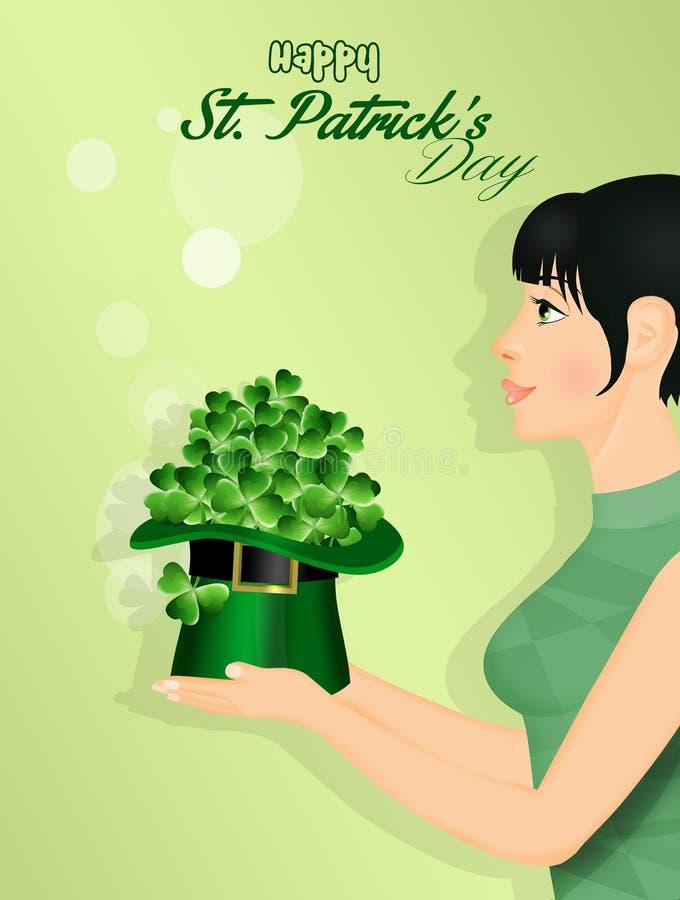 La ragazza celebra la festività di St Patrick illustrazione di stock