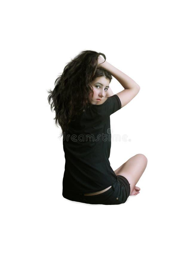La ragazza con capelli lunghi fotografie stock libere da diritti